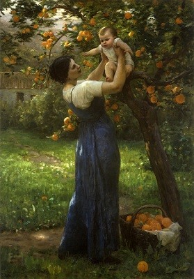 Virginie_Demont-Breton_-_Mother_and_child_in_an_orange_grove